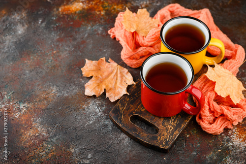 Photo sur Toile The Enameled cup of hot tea