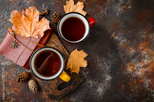 Recess Fitting Tea Enameled cup of hot tea