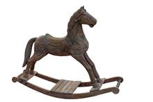 Wooden Rocking Horse On White Background Isolated