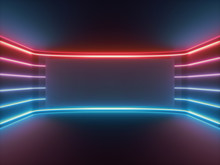 3d Render, Red Blue Neon Light, Glowing Lines, Blank Horizontal Screen, Ultraviolet Spectrum, Empty Room, Abstract Background