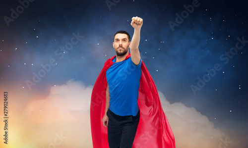 Poster de jardin Route freedom, power, motion and people concept - man in red superhero cape over night sky background