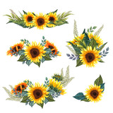 Fototapeta Kwiaty - Beautiful floral collection with sunflowers bouquet, leaves, branches, fern leaves. Bright watercolor sunflowers composition set.