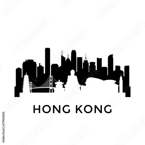 Hong Kong city skyline. Negative space city silhouette. Vector illustration. Wall mural