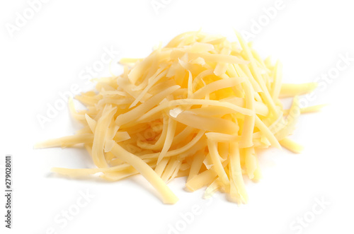 Valokuvatapetti Heap of grated delicious cheese on white background