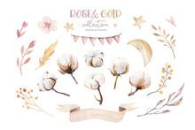 Watercolor Boho Floral Set. Bo...