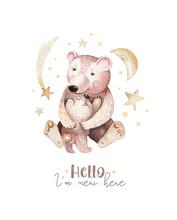Watercolor Little Bear Baby An...