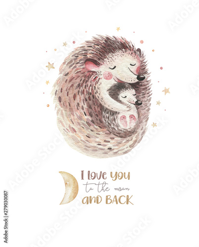 Watercolor Mothers Day Card Mother Hedgehog Embrace Her Child Little Deer Baby And Mother Watercolour Cartoon Baby Nursery Forest Funny Young Hedgehog Illustration Mom And Baby Decor Buy This Stock