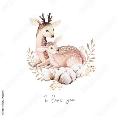 Watercolor little deer baby and mother watercolour bembi cartoon baby nursery Wallpaper Mural