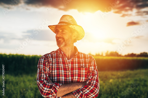senior bearded farmer with straw hat standing crossed arms in field with sun beh Fototapeta