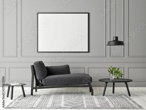 Fototapeta Mock up poster in gray living room minimalism design, 3d render, 3d illustration obraz