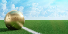 Golden Soccer Ball On A Soccer Field. Copy Space On The Right Side - 3D Rendering