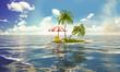 Kleine Tropeninsel mit Liegestuhl und Sonnenschirm sowie Palmen