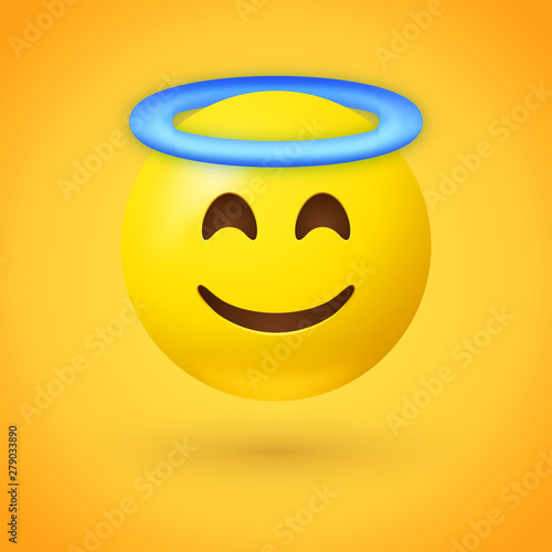 Angel emoji with smiling eyes, closed smile and blue halo overhead