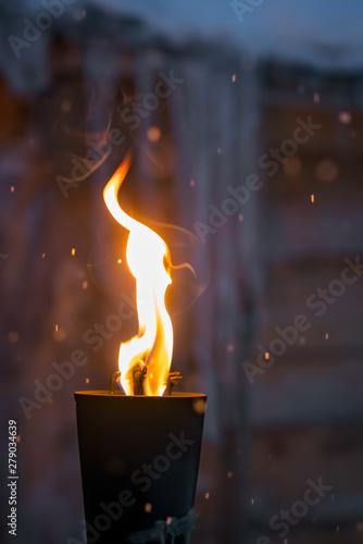 Cuadros en Lienzo Fire burning inside metal torch