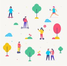 Group Of People Are Walking. Transport Gyroscooter, Scooter, Park Infographics Icons, Illustration. Smartphones Tablets User Interface Social Media.Flat Illustration Icons Infographics. Landing Page