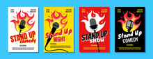 Stand Up Comedy Night Live Show A3 A4 Poster Design Template Set. Retro Microphone With Fire On White Yellow Red Black Background. Hot Jokes Roasting Concept Flyer. Vector Open Mic Illustration