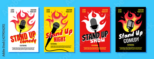 Stand up comedy night live show A3 A4 poster design template set Fototapet