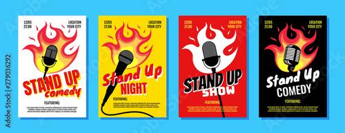 Fotografija Stand up comedy night live show A3 A4 poster design template set