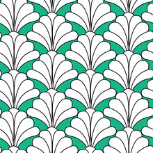 Green Art Deco Style Floral Seamless Pattern