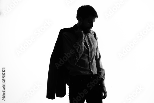 silhouette of a man in black suit Tablou Canvas