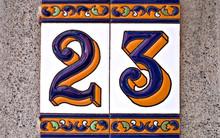 Decorative Tiles With Number 23 / Twenty-three.