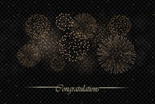 Big Realistic Firework Show Isolated On Transparent On Night Sky Background. Independence Day Concept. Congratulations Background. Luxury Abstract. Explosion Concept. Galaxy Show. Vector Illustration