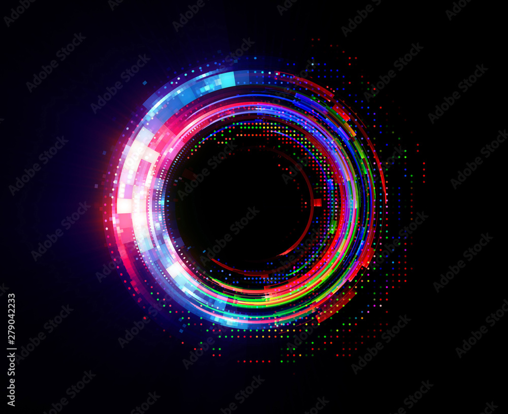 Fototapety, obrazy: Vivid abstract background. Beautiful design of rotation frame.  .Mystical portal. Bright sphere lens. Rotating lines. Glow ring. .Magic neon ball. Led blurred swirl. Spiral glint lines.