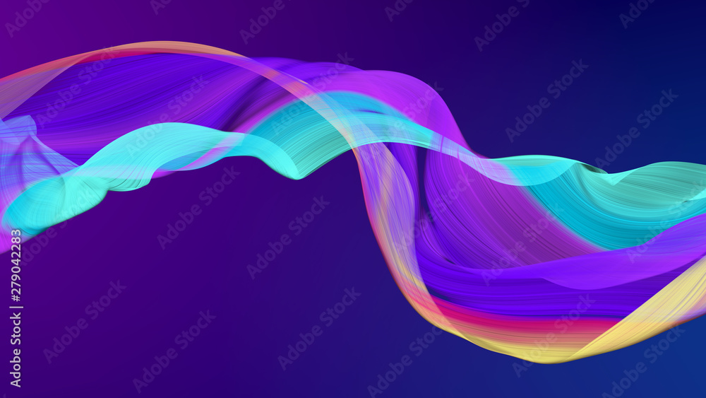 Fototapeta Modern colored poster, color dynamic wave flow, 3d render