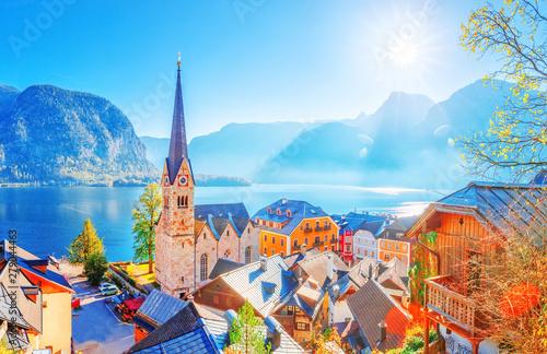 Austria, Hallstatt medieval village on Hallstatter lake banks Wallpaper Mural