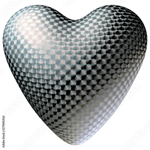 Brushed metal heart with anisotropic material. Isolated Canvas Print