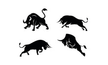 Bull Set Template Vector Logo