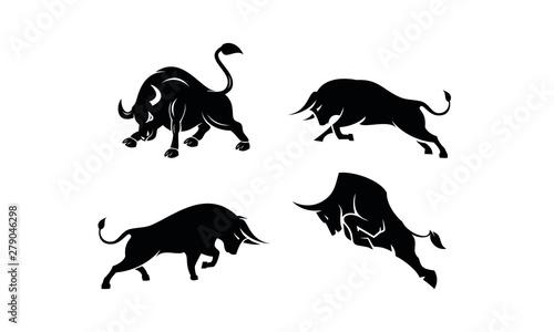 Photo Bull set template vector logo