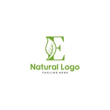 Letter E With Leaf Logo. Green Leaf Logo Icon Vector Design. Landscape Design, Garden, Plant, Nature And Ecology Vector. Ecology Happy Life Logotype Concept Icon. Editable File.