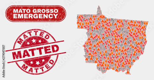 Fotografija  Vector composition of firestorm Mato Grosso State map and red round textured Matted stamp