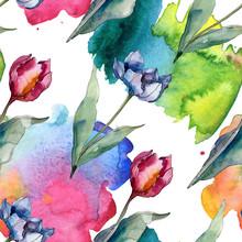 Tulip Floral Botanical Flowers. Watercolor Background Illustration Set. Seamless Background Pattern.
