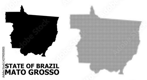 Fotografija  Vector Halftone Mosaic and Solid Map of Mato Grosso State