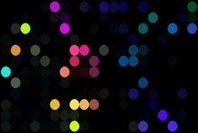 Creative Multicolor Polka Dots Pattern. Pink Yellow Blue Bright Mosaic On Black Background. Disco Decor.