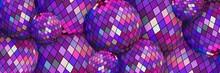 Purple Mirror Disco Balls 3d Background. Festive Party Wallpaper Web Design.