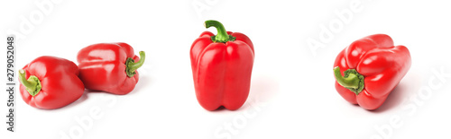 Fotografia Set of fresh whole bell pepper isolated one and two on white background