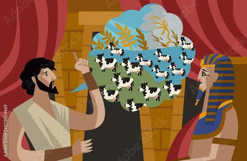 joseph interpretation of pharaoh dreams old testament tale Canvas Print