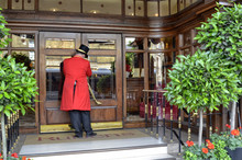 The Typical Uniform Of The Porters Of London Hotel