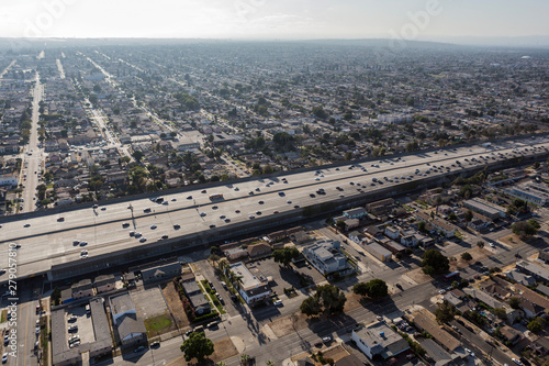 Aerial view of the harbor 110 freeway passing through South