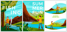 Vector Summer Fishing Posters Set - Man With Rod Catching Trout In River. Forests, Trees And Hills On Background. Print Template With Place For Your Text.