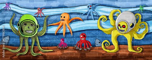 Octopus in the sea Wall Paint Tablou Canvas