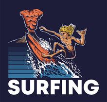 Man Extreme Surfer Riding On B...