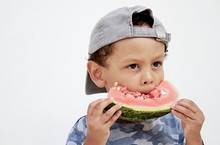 Little Boy Eating Sweet Red Watermelon Stock Image And Stock Photo