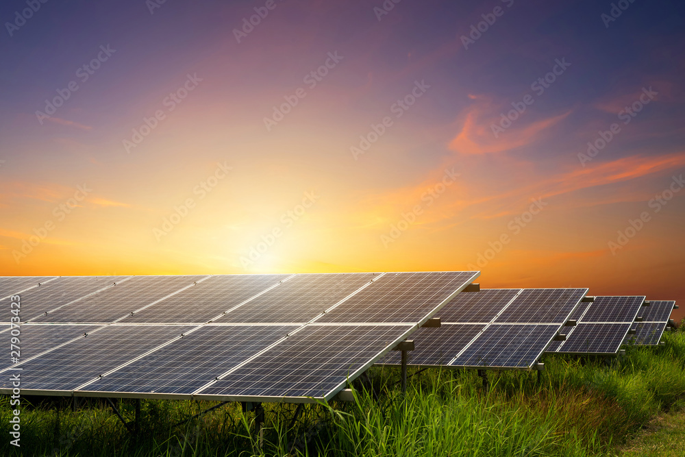 Fototapety, obrazy: Solar panel on dramatic sunset sky background, Alternative energy concept