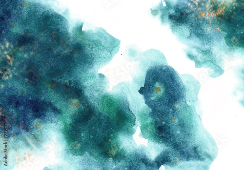 Foto auf AluDibond Licht blau Abstract watercolor background for graphic design, hand painted on paper