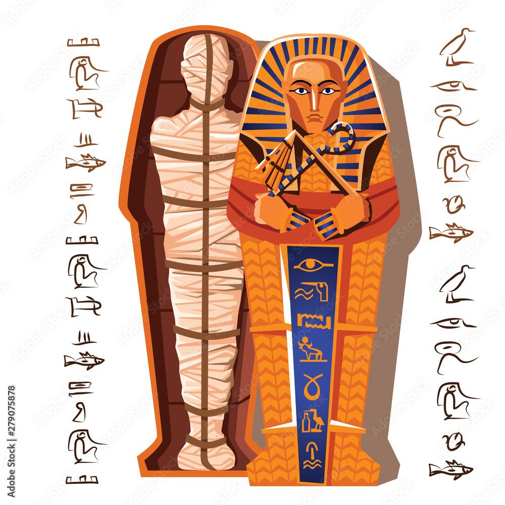 Fototapeta Pharaoh mummy cartoon vector illustration