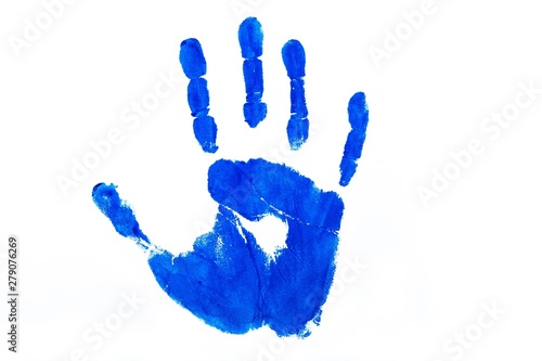 Fotografie, Obraz Blue Handprint - Isolated